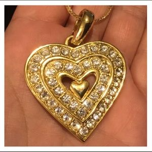 Radiant Shiny Gold Crystal Heart Pendent Necklace
